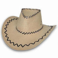 Waterproof Cowboy Cap, Made of Artificial Leather, Customized Logos and Designs are Welcome