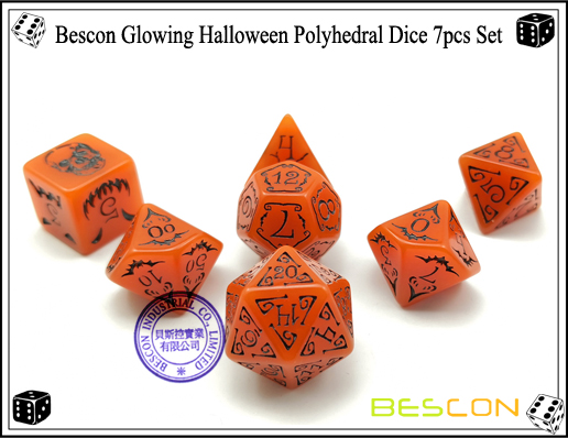 Bescon Glowing Halloween Polyhedral Dice 7pcs Set-1