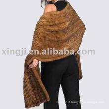 Mulheres Fur Shawl Ruffled Malha De Vison Fur Shawl