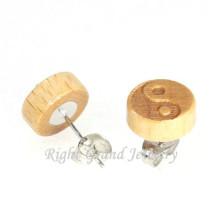 10MM Natural Wood Yinyang Carved Earring Wholesale Wooden Stud Earrings