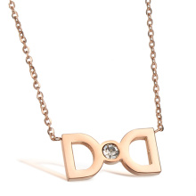 new drill rose gold bow stainless steel necklace