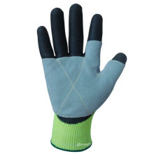 10g Hppe Liner Cow Split Leather Palm PU Coated Work Glove-5540