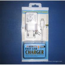 2 en 1 caja de embalaje USB cargador adaptador de pared para teléfonos móviles