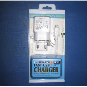 Adaptador de cargador USB con 2 en 1 caja de embalaje para teléfonos móviles