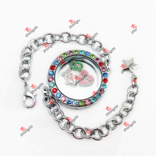 Personalizado de moda 30 mm de cristal colorido pulsera de cadena de Lockets (CRL50925)