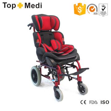 Silla de ruedas infantil reclinable de aluminio Topmedi para niños con parálisis cerebral