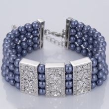 China New Product for Pearl Cuff Bracelet Ocean Blue Four Layers Pearl Bracelet export to Finland Factory