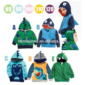 Großhandelsfrühlings-Herbst-Karikatur druckte Krokodil-Art mit Reißverschluss-Baby-Kleidung mit Hut-Baby-Kind-Mantel