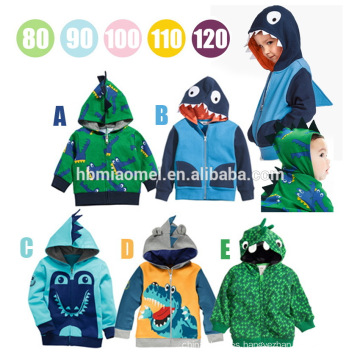 Wholesale Spring Autumn Cartoon Printed Crocodile Style With Zipper Baby Boy Clothing With Hat Baby Children Coat