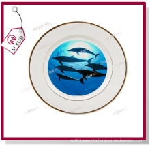 Hot Selling! 10′′ Ceramic White Plate with Golden Rims
