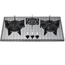 3 quemadores de acero inoxidable construidos en estufa de gas