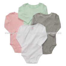 Long Sleeve Baby Rompers, Solid Colors, Made of 100% Cotton Combed, Customized Logo Welcome