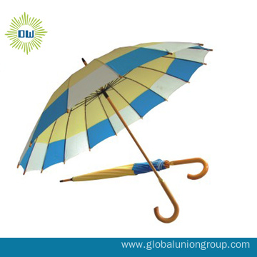 Cheap Advertising Automatic Wooden Shaft Umbrella
