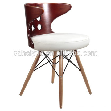 2017 hit Unique White leather cushion wood frame office chair with twooden leg HY2011-1