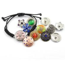 18 milímetros de prata moda jóias DIY botões de couro tecido pulseira