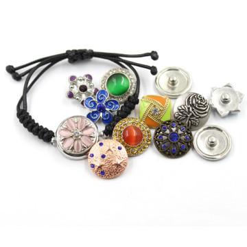 18мм Серебряный моды ювелирные DIY кнопки кожаные сплетенные браслет