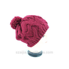 Señoras coloridas de acrílico de punto de pom pom beanie sombrero