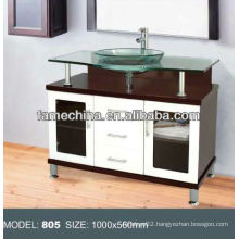 2013 Glass wood bathroom vanity glass cabinet