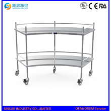 Hospital Stainless Steel Fan Shaped Operation Apparatus Table/Instrument Trolley