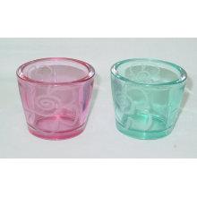 Porte-bougie en verre coloré clair / chandelier