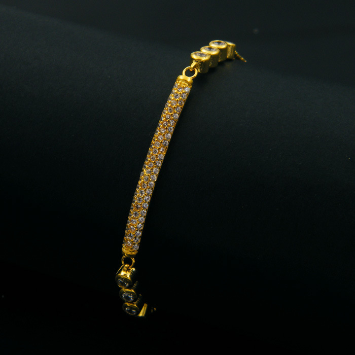 Rhinestone Zircon Brass Gold Plated Bracelet For Women