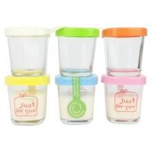 Square Type Glass Puddding Jars with Plastic Cap, Custom-Sized Logo