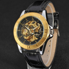 golden alloy bezel watch with sub-dial design leather band
