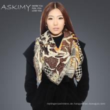 Hochwertiger 100% reiner Kaschmir gedruckter quadratischer Schal