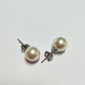 Pendientes de perlas de marfil simple