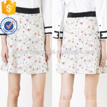 Lindo estampado de flores multicolores una línea de poliéster Mini falda de verano Fabricación al por mayor de prendas de vestir de las mujeres de moda (TA0036S)