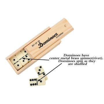 Ivory Dominoes In Wooden Box