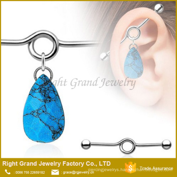 Surgical Steel teardrop turquoise charm dangle Industrial Barbell
