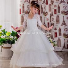 Vestidos baratos de las muchachas de flor blanca para los vestidos de boda del marco del cordón del Bow Girl Vestido de fiesta de cumpleaños del vestido del desfile de Tulle