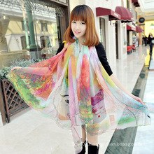 High Quality Silk Georgette Large Shawl Scarf
