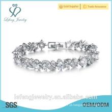 Atacado de jóias de alta qualidade pulseira de platina banhado a prata para as mulheres