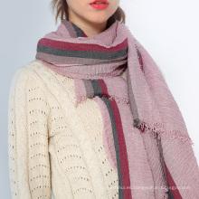 Nuevo diseño rojo crema rosa ancho maison soild impreso color musulmán mantón burbuja borlas de algodón bufanda hijab bufanda
