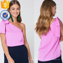Mais recente projeto 2019 rosa de um ombro mangas verão top manufatura atacado moda feminina vestuário (ta0084t)