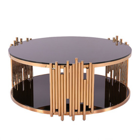 luxury and royal glass and metal coffee table