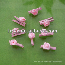Cute Wooden Peg With Pink Flower