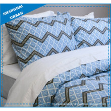 Blue Zig-Zag Pattern Printed Polyester Duvet Cover Bedding