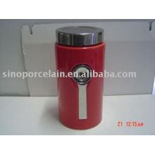 Cerámica jarra de comida con tapa de acero y cuchara para BS09035