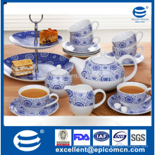 Guangdong por mayor de cerámica de té de cerámica azul y blanco 19pcs para 6 personas