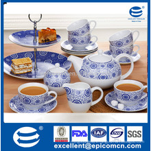 Guangdong wholesale grace ceramic tea ware blue and white 19pcs for 6 person