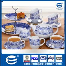 Guangdong atacado graça cerâmica de chá mercadorias azul e branco 19pcs para 6 pessoa