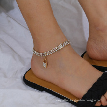 European and American Gold and Silver Multi-Layer Rhinestone Claw Chain Diamond Lock-Shaped Pendant Fashion Jewellery Anklet Bracelet for Women