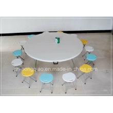 Складной круглый стол, Пластиковый складной лунный полукруглый стол, Открытый круглый обеденный стол, Круглый банкетный стол 1,8 м для 10 человек