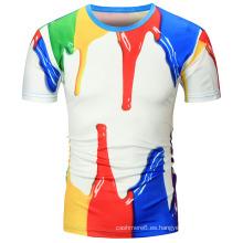 Camiseta de cuello redondo personalizado 100% algodón de impresión de hombres