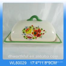 Decal Flower Design Plato de mantequilla de cerámica con tapa