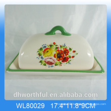 Decal Flower Design Ceramic Butter Dish with Lid