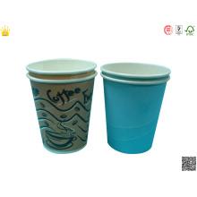 Tasse de papier froide jetable imprimée par logo, tasse de papier de boisson de soda, tasse de papier chaud